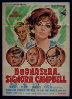 M146 Manifesto 2F Buenas Noches Signora Campbell 1° ED.IT.1969 Lollobrigida