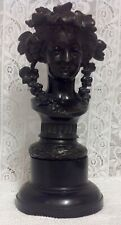 More details for antique painted black metal spelter bust bacchus nymph / hop queen on a plinth.