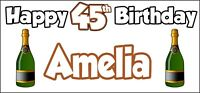 Champagne Bottle 45th Birthday Banner x 2 Party Decorations Mens Womens Adult