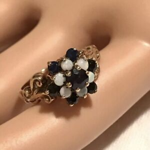 Antique 9ct Yellow Gold Blue Sapphire & Fiery Opal Cluster Ring Size K 1/2. 2.6g