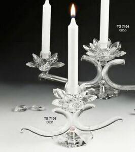 Candeliere candelabro fiore in cristallo 1 fiamma da 26 cm 0OSP