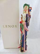 "LENOX Large 13"" Christmas Figurine Pencil Santa w Box WREATH BEARER SANTA 1997"