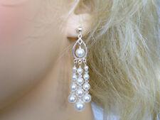 White Swarovski Pearl Chandelier Earrings 925 Silver