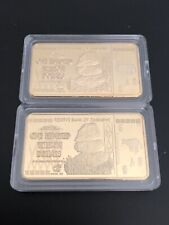 2 Pcs Zimbabwe 100 Trillion Dollars Gold Plated Bar (Ingot) / NOT SOLID GOLD
