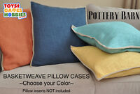 """Pottery Barn COTTON BASKETWEAVE PILLOW COVER 20 x 20"""" NWT -Choose your Color"""