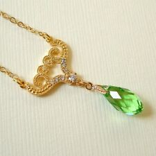 Green Peridot Crystal Briolette Gold Necklace made with Swarovski Elements