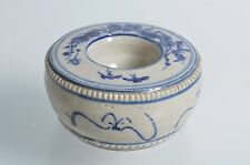 Antique early 1900s VIETNAMESE pottery brush washer Blue White stoneware flowers
