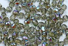 50 Black Diamond AB Czech Firepolish Faceted Round Glass Beads 3mm