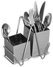 Premier Housewares Porta posate in acciaio INOX cromato con 2 scomparti (H0N)