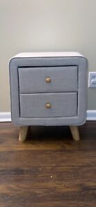 Jonesy 2-Drawer Mid-Century Beige Fabric Nightstand