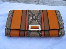 NWT Coach Authentic Stunning Madison Pinnacle Clutch in Exotic Striped Leather