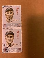 1969 AJMAN TY COBB STAMP PANEL OF 2 STAMPS MINT VERY RARE