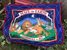 VINTAGE RED & BLUE PEACE ON EARTH GOODWILL TO ALL QUILT OR LAP THROW