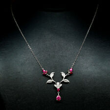 "NATURAL PINK RUBY & WHITE CZ PENDANT & NECKLACE 21"" 925 STERLING SILVER"