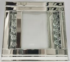 Sparkly Floating Crystal Silver Mirrored Picture Frame  5X7 Inch Photo