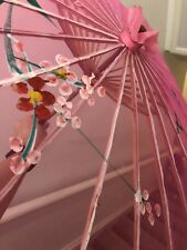 Pink Umbrella Decorative hand Painted Hand made Wooden Cloth Small Size