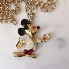 Vintage Gold & Enamel Mickey Mouse Pendant, Collectable Walt Disney