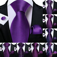 Mens Purple Silk Necktie Paisley Plaids Floral Solid Pocket Square Cufflinks