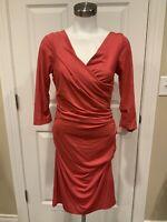 """Diane Von Furstenberg Dark Pink """"Bentley Short"""" 3/4 Sleeve Sheath Dress, Size M"""