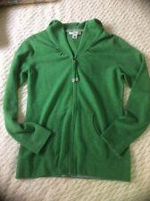 Banana Republic L 100% Cashmere Green Full Zip Cardigan Sweater Hoodie Jacket