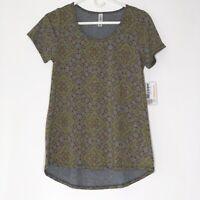 NEW LuLaRoe Classic T XS Floral Geometric Paisley Gray Yellow Red Blouse Shirt