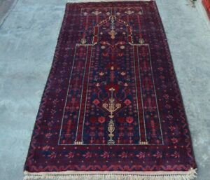 F2184 Vintage Handmade Afghan Tribal Baluchi Prayer Rug Wool Rug 2'10 x 5'4 Feet