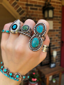 Vintage~Sterling Silver~Two Stone~Double Turquoise Ring~Sz 7/7.25 *Long*