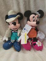 "Disney Resort Japan Mickey Mouse & Minnie 8"" Plush Bean Bag Beanies 2000 RARE"
