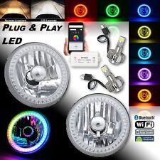 "5-3/4"" RGB SMD Color-Chasing Halo Angel Eye Headlight 18/24W LED Lamp Bulb PAIR"