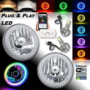 "5-3/4"" RGB SMD Color-Chasing Halo Angel Eye Headlight 18/24W LED Lamp Bulb PAIR"