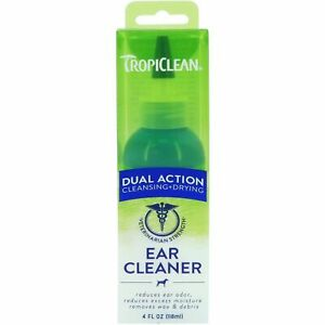 TropiClean Dual Action Ear Cleaner For Pets 118ml Reduce Odor & Excess Moisture