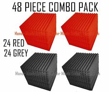 48 pc CoMBO PaCK RED/GREY Acoustic Wedge Soundproof Studio Foam Tile 12x12x1