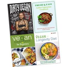 Vegan recipe 4 books set Dirty Vegan, Longevity Diet, Fresh Indian Cookbook NEW