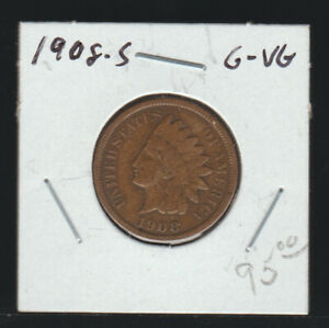 1908-S Indian Cent, Good-Very Good