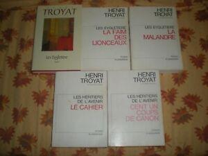 LOT HENRI TROYAT 3 TOMES LES EYGLETIERES + 2 TOMES LES HERITIERS DE L'AVENIR