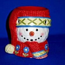 Yankee Candle Ceramic Christmas Snowman Warmer With Knit Hat & Scarf