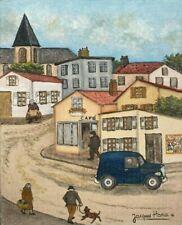 Tableau Art Moderne Naif La Fourgonnette bleue signée Jacques Hara né 1933