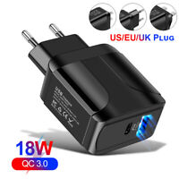 18W PD QC 3.0 Fast Wall Charger USB Power Adapter For iPhone Pro Max Samsung US