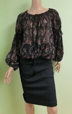 RALPH LAUREN DENYM&SUPPLY NEW Black Chiffon Floral Print Blouse Top XS/S