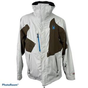 Spyder Mens Dermizax-EV Ski Jacket White Brown Colorblock Full Zip Up Pockets S