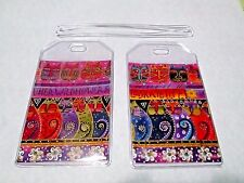 Laurel Burch Rare Fabulous Felines cats fabric & PVC Luggage Tags Set 2 bag tags