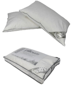 2 x Luxury Duck Feather and Down Pillows Cotton Cover Hotel Quality Premium
