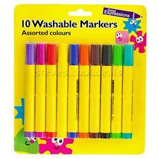 10 Washable Markers Assorted colours kid friendly water colour pens colouring