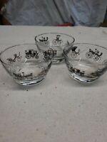 Set of 3 Vintage Libbey  Dessert Bowls ~ Antique Cars, Clear w/ Black & Gold