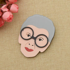 Cartoon Old Granny Portrait Brooch Pin Acrylic Jewelry Gift Clothes Bag Decor