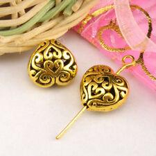 3Pcs Tibetan Silver,Gold,Bronze Hollow Filigree Heart Spacer Beads M1355