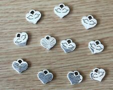 Beautiful Tiny Heart with Wings Pattern Charms Pack 10 Charm Pendants -Free Post