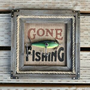 Gone Fishing Wall Art Indoor Outdoor 11 x 11 Rustic Wall Decor Farm Country