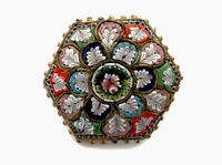 Vintage Hexagonal Micro Mosaic Gold / Brass Tone Brooch - GIFT BOXED
