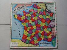 Très ancien Puzzle en carton, carte de France des départements (années 60)